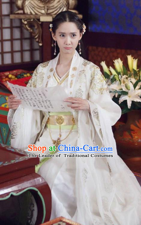 Traditional Ancient Chinese Imperial Princess Costume, Chinese Han Dynasty Young Lady Dress, Cosplay Chinese Imperial Princess Embroidered Tailing Clothing Hanfu for Women