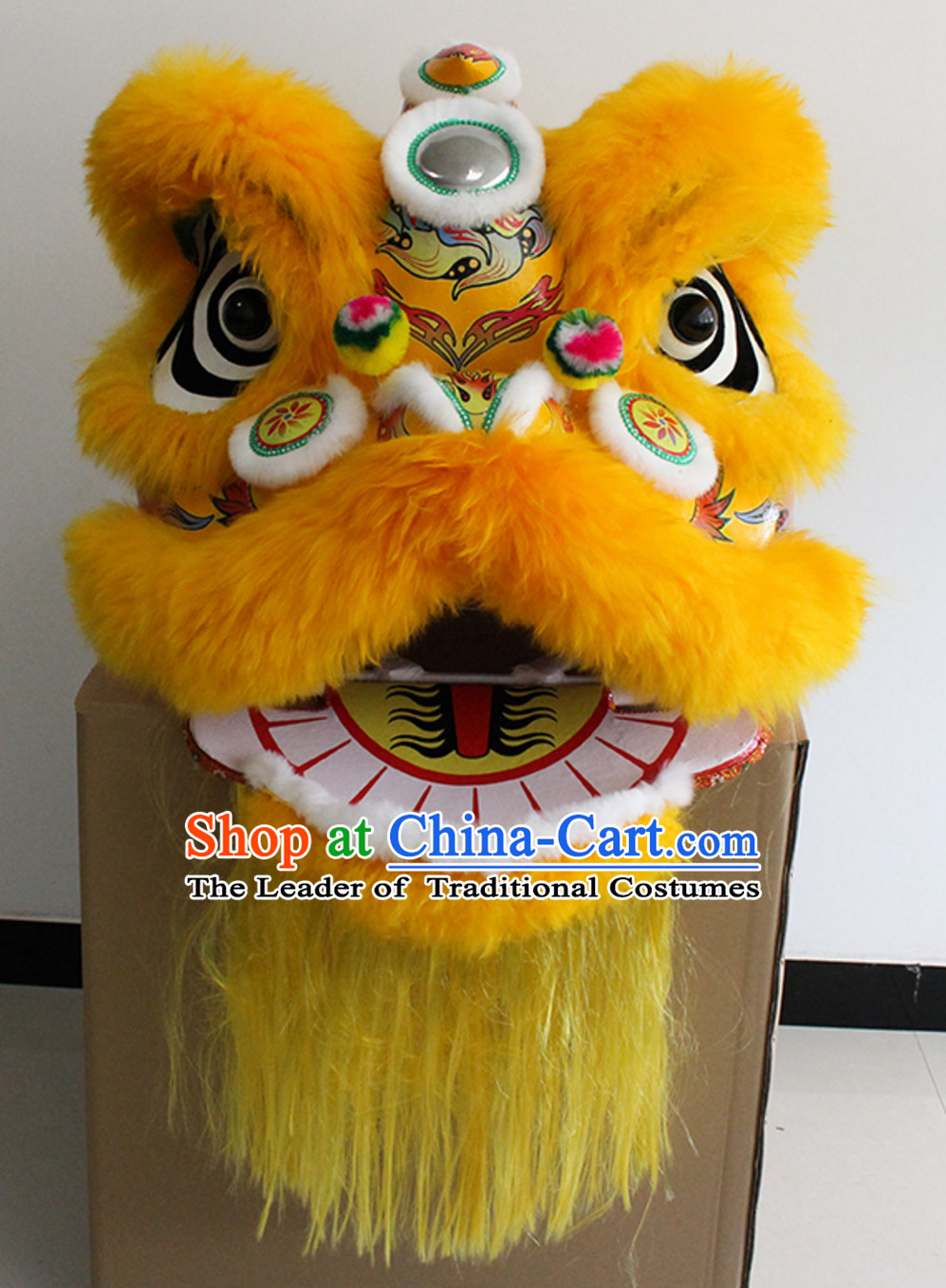 Yellow New 100% Long Wool Lion Dance Costume Complete Set