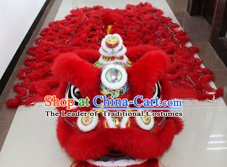 Lucky Red New 100% Long Wool Lion Dance Costume Complete Set