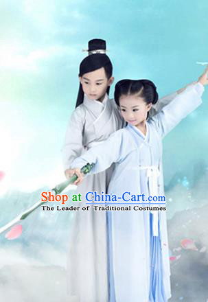 Traditional Chinese Ancient Costumes Ancient Chinese Cosplay Swordsman Knight Costume Complete Set for Boys and Girls