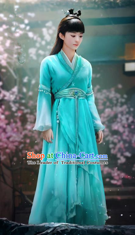 Traditional Ancient Chinese Swordswoman Costume, Chinese Han Dynasty Fairy Dress, Cosplay Game Character Chinese Peri Princess Blue Clothing for Women