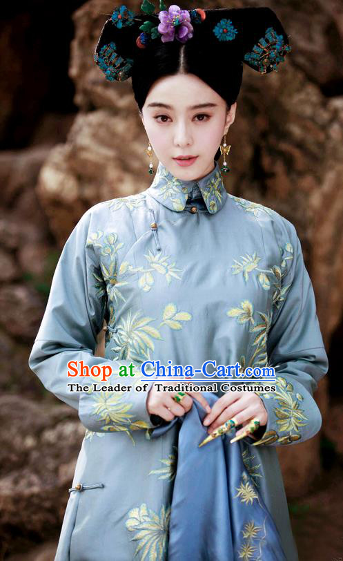 Traditional Ancient Chinese Imperial Emperess Costume, Chinese Qing Dynasty Manchu Palace Lady Dress, Cosplay Chinese Manchu Minority Princess Embroidered Clothing for Women