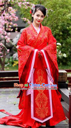 Traditional Ancient Chinese Imperial Emperess Costume, Chinese Han Dynasty Wedding Dress, Cosplay Chinese Peri Concubine Embroidered Red Hanfu Clothing for Women