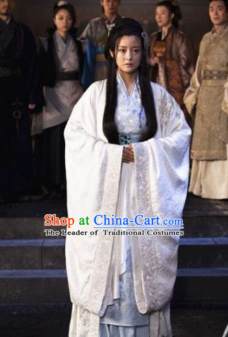 Traditional Ancient Chinese Imperial Princess Costume, Chinese Han Dynasty Young Lady Dress, Cosplay Chinese Peri Princess Embroidered Hanfu Clothing for Women