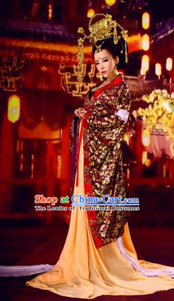 Traditional Ancient Chinese Imperial Consort Costume, Chinese Tang Dynasty Young Lady Wedding Dress, Cosplay Chinese Concubine Embroidered Clothing Phoenix Hanfu for Women