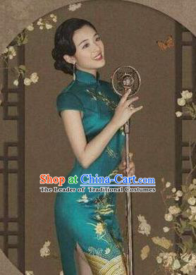 Traditional Chinese Female Costumes Chinese Classic Clothes Chinese Silk Peacock Blue Cheongsam Tang Suits Dress for Women