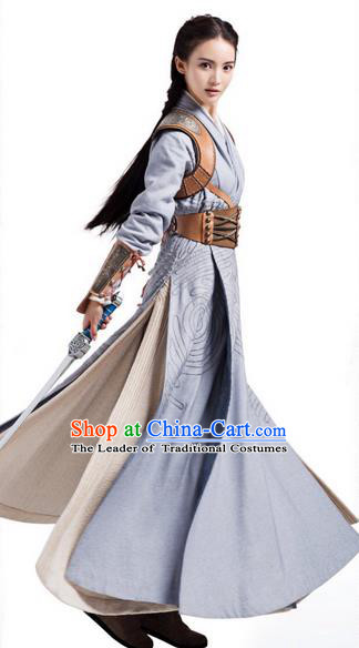 Traditional Ancient Chinese Female Costume, Chinese Ancient Swordswoman Dress, Cosplay Chinese Chivalrous Swordsman Clothing for Women