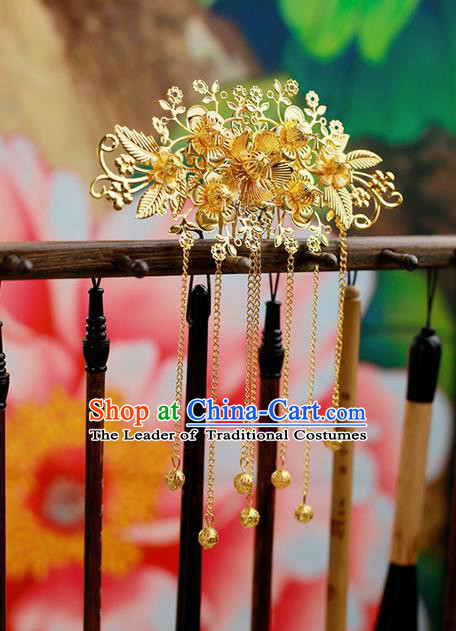 Chinese Wedding Jewelry Accessories, Traditional Xiuhe Suits Wedding Bride Headwear, Wedding Tiaras, Ancient Chinese Tassel Harpins for Women