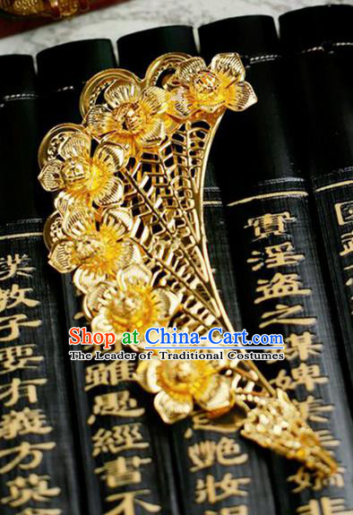 Chinese Wedding Jewelry Accessories, Traditional Xiuhe Suits Wedding Bride Headwear, Wedding Tiaras, Ancient Chinese Half Moon Harpins for Women