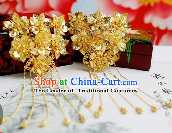Chinese Wedding Jewelry Accessories, Traditional Xiuhe Suits Wedding Bride Flowers Headwear, Wedding Hairpin, Ancient Chinese Harpins for Women