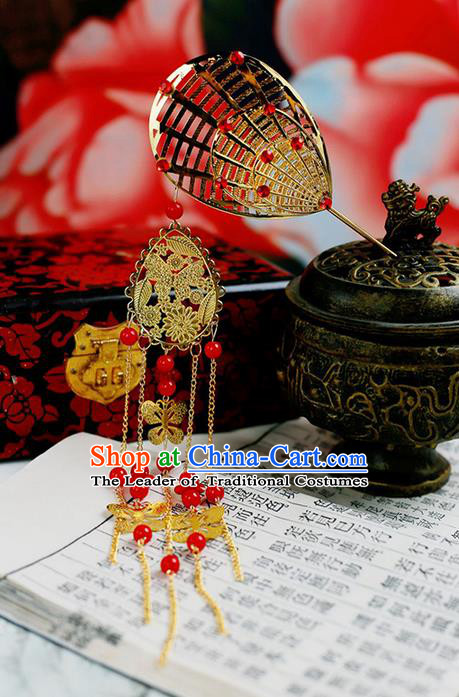 Chinese Wedding Jewelry Accessories, Traditional Xiuhe Suits Wedding Bride Sector Headwear, Wedding Tiaras, Ancient Chinese Sector Harpins for Women