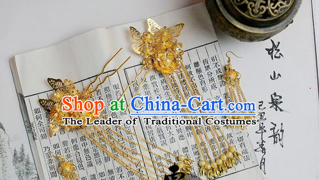 Chinese Wedding Jewelry Accessories, Traditional Xiuhe Suits Wedding Bride Butterfly Headwear, Wedding Tiaras, Ancient Chinese Harpins and Earrings for Women