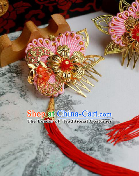 Chinese Wedding Jewelry Accessories, Traditional Xiuhe Suits Wedding Bride Flowers Headwear, Wedding Tiaras, Ancient Chinese Harpins and Earrings for Women