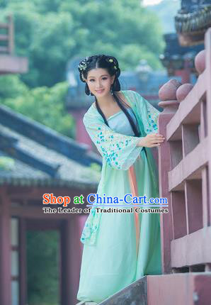 Traditional Ancient Chinese Imperial Emperess Costume, Chinese Tang Dynasty Palace Lady Dress, Cosplay Chinese Princess Printing Flowers Green Ru Skirt Clothing for Women