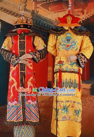 Traditional Ancient Chinese Imperial Emperess and Emperor Costume Complete Set, Chinese Qing Dynasty Emperess Wedding Dress, Chinese Manchu Emperess Emperor Embroidered Phoenix and Dragon Clothing for Women for Men