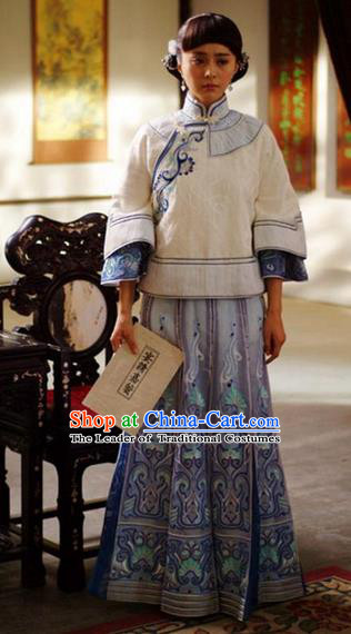 Traditional Ancient Chinese Costume Xiuhe Suit, Chinese Late Qing Dynasty Female Dress, Republic of China Embroidered Blue Clothing for Women