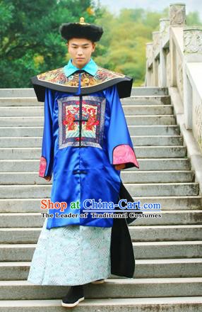 Traditional Ancient Chinese Imperial Emperor Costume, Chinese Qing Dynasty Official Uniforms, Cosplay Chinese Manchu Minister Embroidered Clothing Complete Set for Men