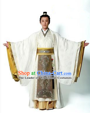 Traditional Ancient Chinese Imperial Emperor Costume, Chinese Han Dynasty Emperor Dress, Cosplay Chinese Majesty Embroidered Clothing White Hanfu Complete Set for Men