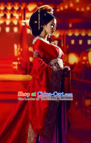 Traditional Ancient Chinese High-Grade Imperial Consort Costume, Chinese Han Dynasty Lady Red Dress, Cosplay Chinese Imperial Concubine Clothing Trailing Wedding Hanfu for Women