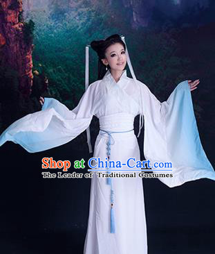 Traditional Ancient Chinese High-Grade Imperial Consort Costume, Chinese Han Dynasty Lady Elegant Dress, Cosplay Chinese Fairy Clothing White Hanfu for Women