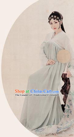 Traditional Ancient Chinese High-Grade Imperial Consort Costume, Chinese Tang Dynasty Lady Elegant Dress, Cosplay Chinese Fairy Clothing White Ink Painting Hanfu for Women