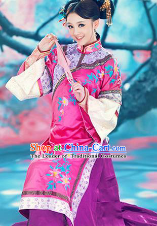 Traditional Ancient Chinese Imperial Princess Consort Costume, Chinese Qing Dynasty Young Lady Dress, Chinese Manchu Princess Clothing for Women