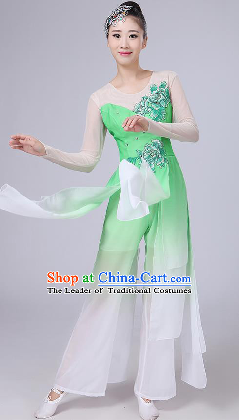 Traditional Chinese Yangge Fan Dancing Costume, Folk Dance Yangko Uniforms, Classic Umbrella Dance Elegant Dress Drum Dance Peony Green Clothing for Women