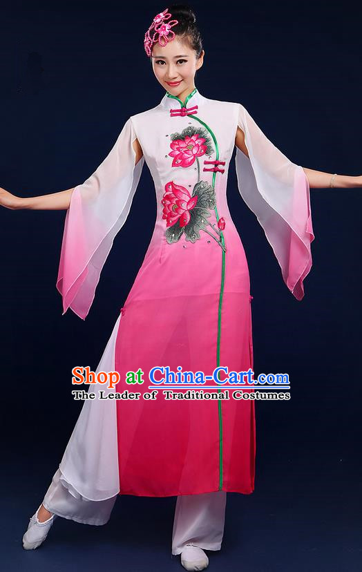 Traditional Chinese Yangge Fan Dancing Costume, Folk Dance Yangko Uniforms, Classic Umbrella Lotus Dance Elegant Dress Drum Dance Pink Clothing for Women