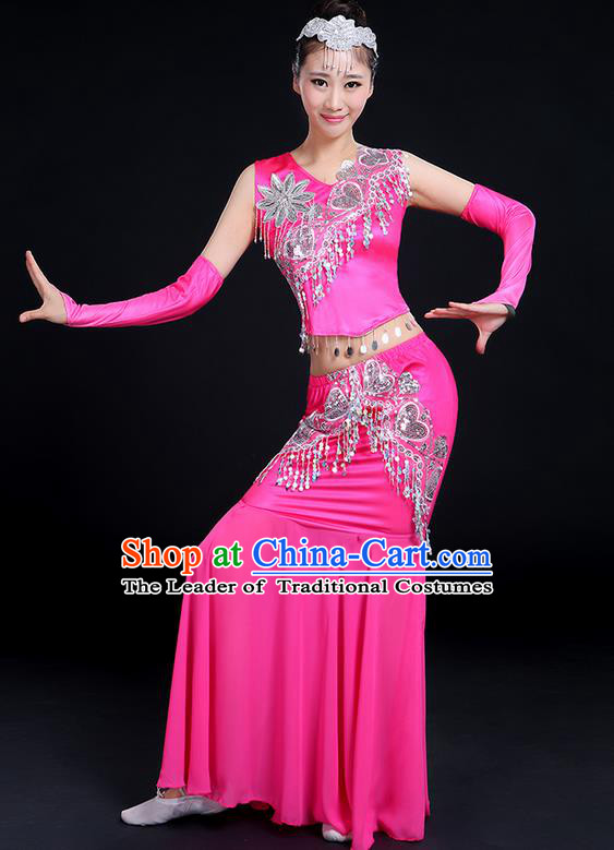 Traditional Chinese Dai Nationality Peacock Dancing Costume, Folk Dance Ethnic Paillette Tassel Fishtail Dress Princess Uniform, Chinese Minority Nationality Dancing Pink Clothing for Women