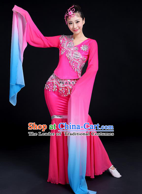 Traditional Chinese Yangge Fan Dancing Costume, Folk Dance Yangko Gradient Water Sleeve Uniforms, Classic Umbrella Dance Elegant Dress Drum Dance Clothing for Women