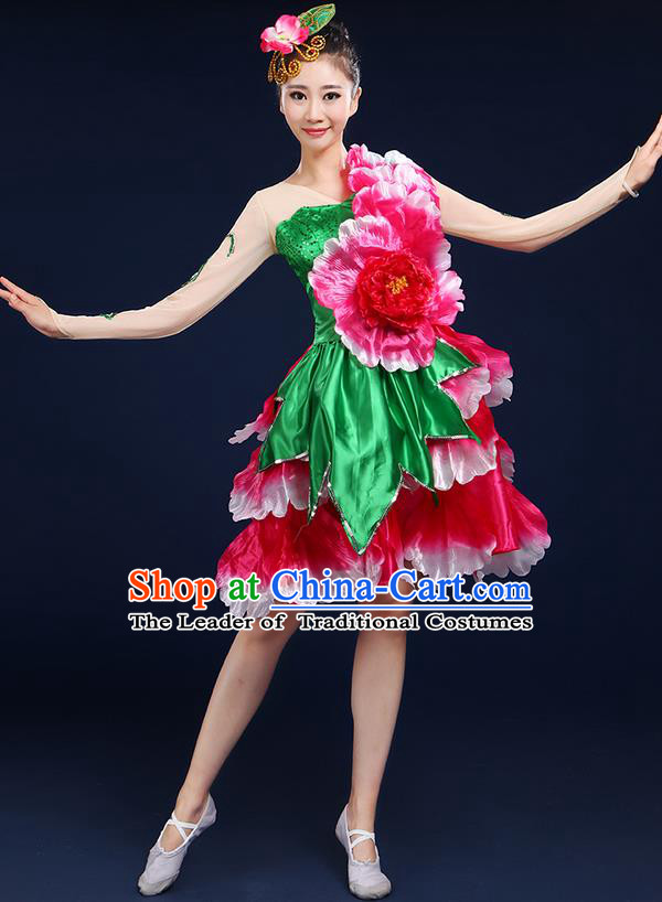 Traditional Chinese Modern Dancing Compere Costume, Women Opening Classic Chorus Singing Group Dance Flowers Peony Bubble Uniforms, Modern Dance Classic Dance Short Dress for Women
