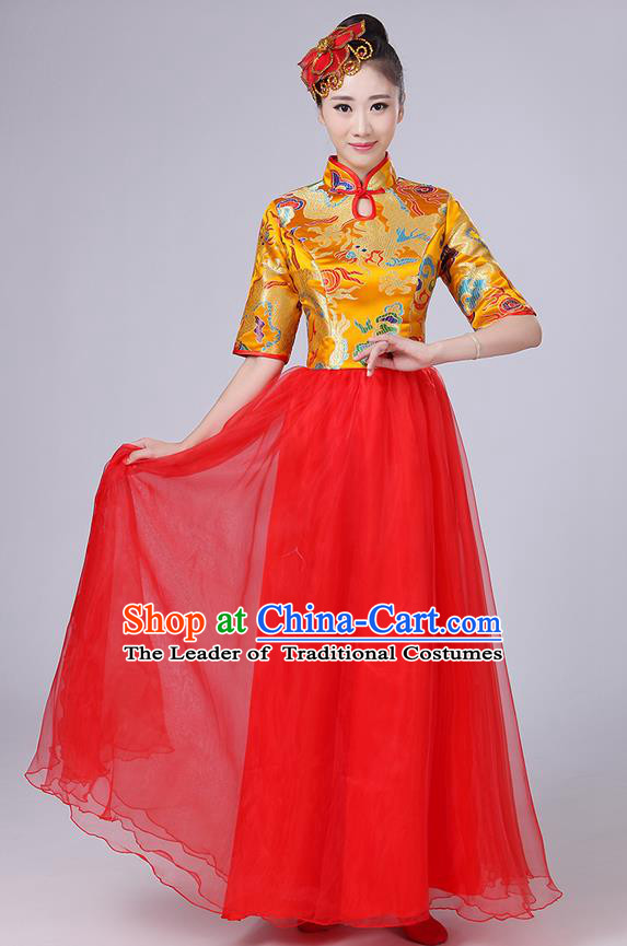 Traditional Chinese Style Modern Dancing Compere Costume, Women Opening Classic Chorus Singing Group Dance Satin Dragon Uniforms, Modern Dance Classic Dance Gold Cheongsam Dress for Women