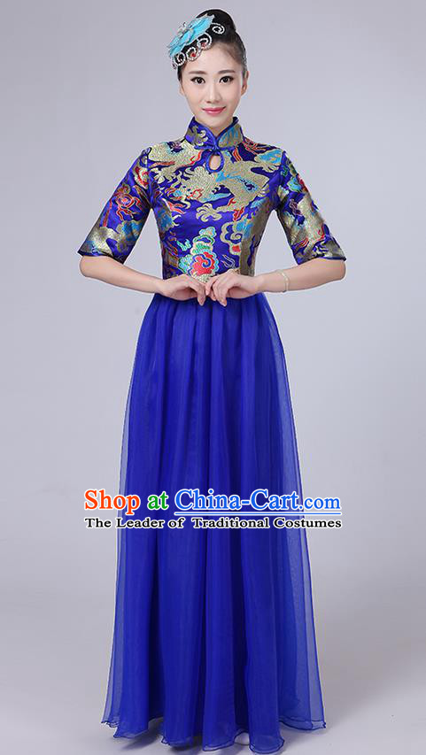 Traditional Chinese Style Modern Dancing Compere Costume, Women Opening Classic Chorus Singing Group Dance Satin Dragon Uniforms, Modern Dance Classic Dance Blue Cheongsam Dress for Women