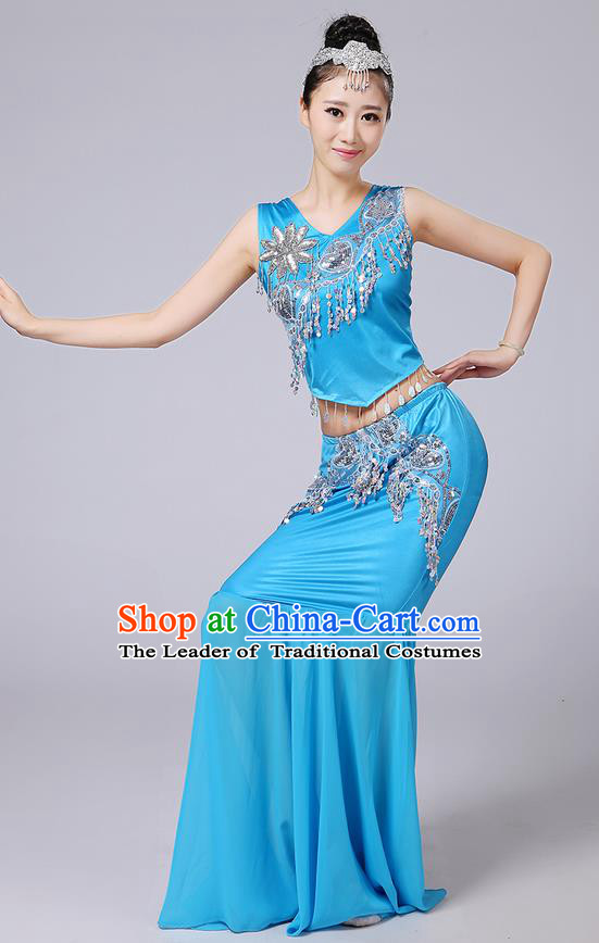 Traditional Chinese Dai Nationality Peacock Dancing Costume, Folk Dance Ethnic Paillette Tassel Fishtail Dress Princess Uniform, Chinese Minority Nationality Dancing Blue Clothing for Women