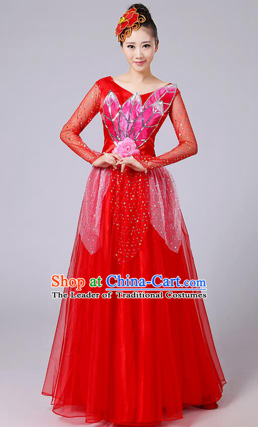 Traditional Chinese Style Modern Dancing Compere Costume, Women Opening Classic Chorus Singing Group Dance Uniforms, Modern Dance Classic Dance Red Long Big Swing Dress for Women