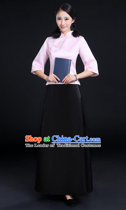 Traditional Chinese Style Modern Dancing Compere Costume, Women Opening Chorus Singing Group Classic Dance May 4th Movement Students Uniforms, Modern Dance Classic Dance Pink Blouse and Skirt for Women