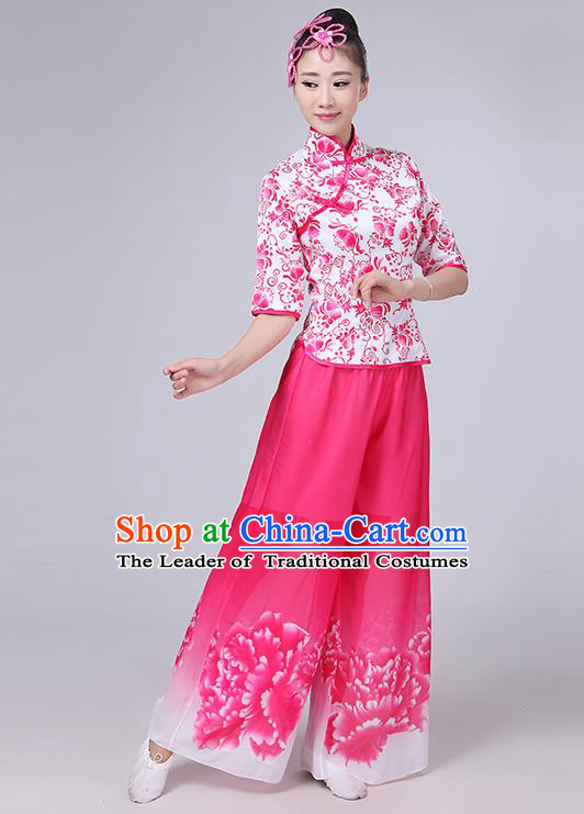 Traditional Chinese Yangge Fan Dancing Costume, Folk Dance Yangko Mandarin Collar Peony Painting Blouse and Pants Uniforms, Classic Dance Elegant Dress Drum Dance Pink Clothing for Women