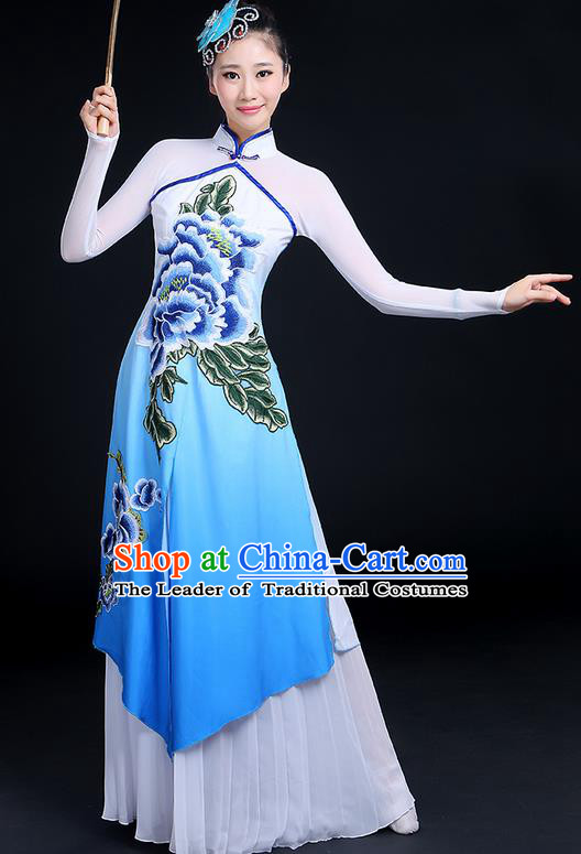 Traditional Chinese Yangge Fan Dancing Costume, Folk Dance Yangko Mandarin Collar Peony Painting Uniforms, Classic Dance Elegant Big Swing Dress Drum Dance Clothing for Women