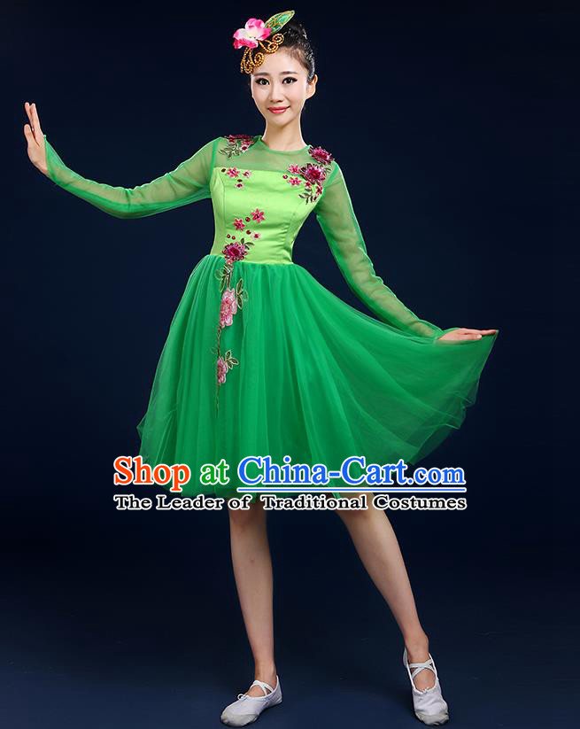 Traditional Chinese Modern Dancing Compere Costume, Women Opening Classic Dance Chorus Singing Group Bubble Uniforms, Modern Dance Classic Dance Big Swing Green Short Dress for Women