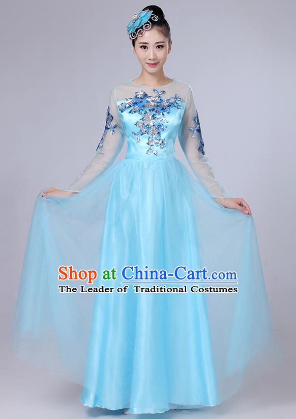 Traditional Chinese Modern Dancing Compere Costume, Women Opening Classic Dance Chorus Singing Group Bubble Embroidered Uniforms, Modern Dance Classic Dance Big Swing Blue Long Dress for Women