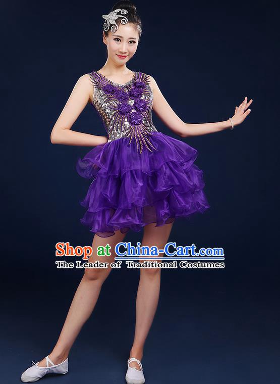 Traditional Chinese Modern Dancing Compere Costume, Women Opening Classic Dance Chorus Singing Group Bubble Uniforms, Modern Dance Classic Dance Short Dress for Women