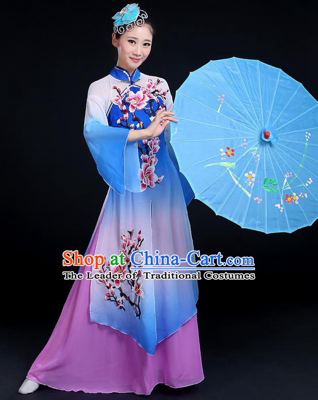 Traditional Chinese Yangge Fan Dancing Costume, Folk Dance Yangko Mandarin Sleeve Peach Blossom Painting Uniforms, Classic Dance Elegant Big Swing Dress Drum Dance Clothing for Women