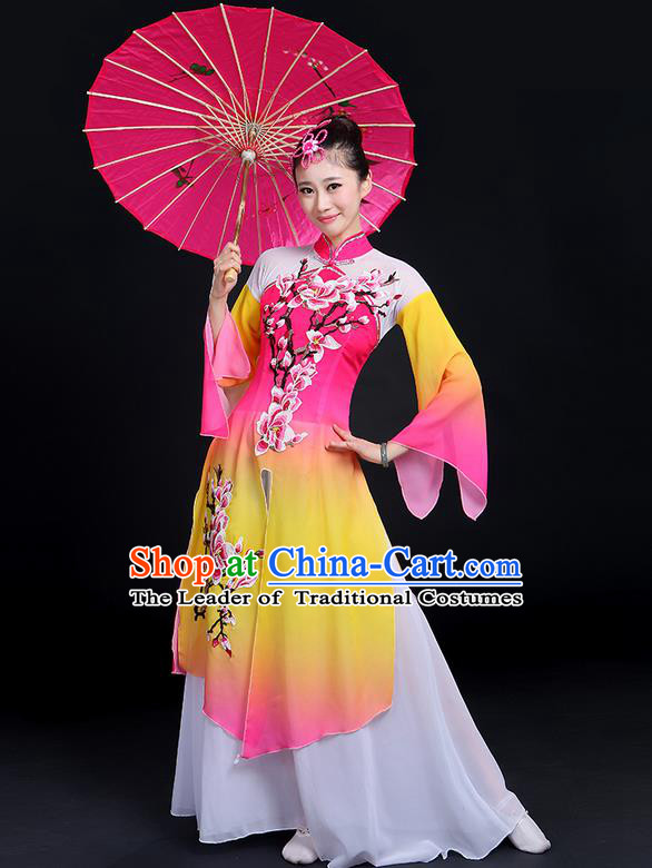 Traditional Chinese Yangge Fan Dancing Costume, Folk Dance Yangko Mandarin Sleeve Peach Blossom Painting Uniforms, Classic Dance Elegant Big Swing Dress Drum Dance Pink Clothing for Women