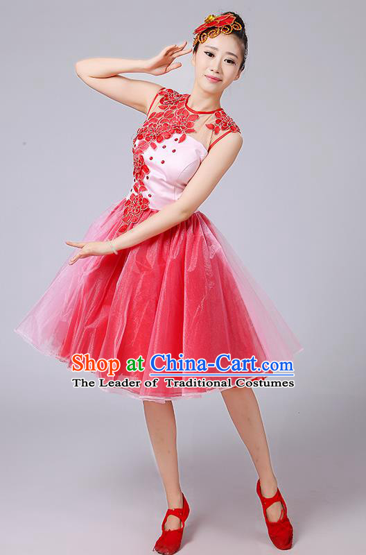 Traditional Chinese Modern Dancing Compere Costume, Women Opening Classic Dance Chorus Singing Group Embroidered Bubble Uniforms, Modern Dance Classic Dance Big Swing Purple Short Dress for Women