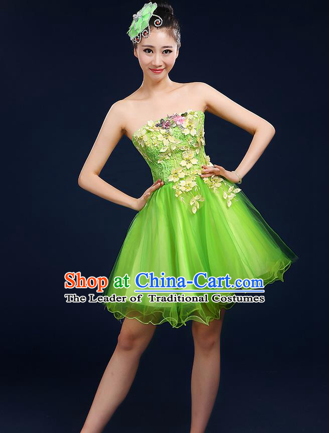 Traditional Chinese Modern Dancing Compere Costume, Women Opening Classic Dance Chorus Singing Group Embroidered Plum Blossom Bubble Uniforms, Modern Dance Classic Dance Big Swing Green Short Dress for Women