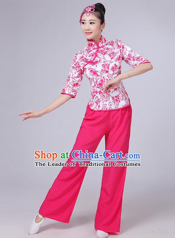 Traditional Chinese Yangge Fan Dancing Costume, Folk Dance Yangko Mandarin Collar Blue and White Porcelain Blouse and Pants Uniforms, Classic Dance Elegant Dress Drum Dance Pink Clothing for Women