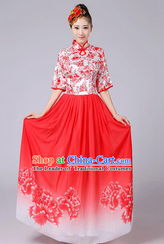 Traditional Chinese Style Modern Dancing Compere Costume, Women Opening Classic Chorus Singing Group Dance Mandarin Collar Peony Uniforms, Modern Dance Classic Dance Red Cheongsam Dress for Women