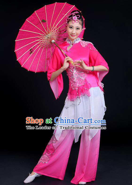 Traditional Chinese Yangge Fan Dancing Costume, Folk Dance Yangko Mandarin Collar Peony Blouse and Pants Uniforms, Classic Dance Elegant Big Swing Dress Drum Dance Pink Clothing for Women