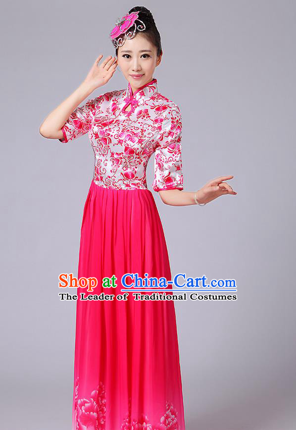 Traditional Chinese Style Modern Dancing Compere Costume, Women Opening Classic Chorus Singing Group Dance Mandarin Collar Peony Uniforms, Modern Dance Classic Dance Pink Cheongsam Dress for Women