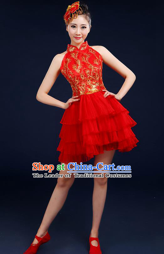 Traditional Chinese Modern Dancing Compere Costume, Women Opening Classic Dance Chorus Singing Group Bubble Uniforms, Modern Dance Classic Dance Big Swing Red Short Dress for Women